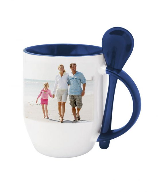 personalized mug design birthday gift | cup design | spoon dark blue