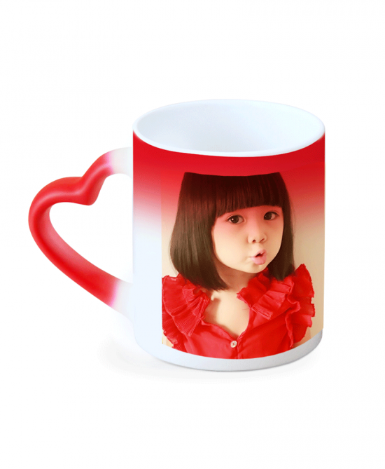 Red color Magic Mug heart handle