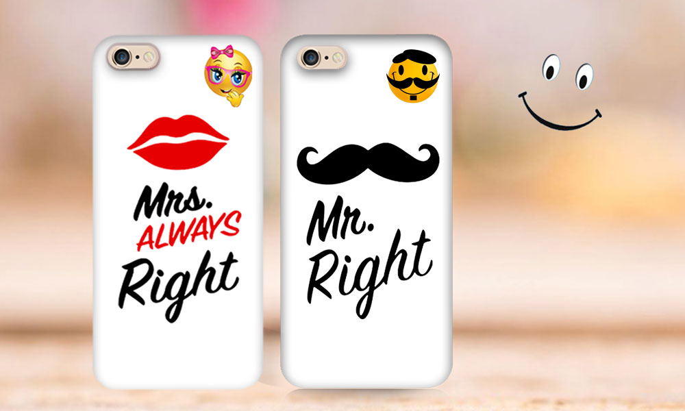 Mr and mrs right couple phone cases