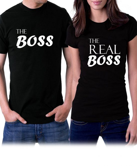 Couple T Shirts Design the boss the real boss